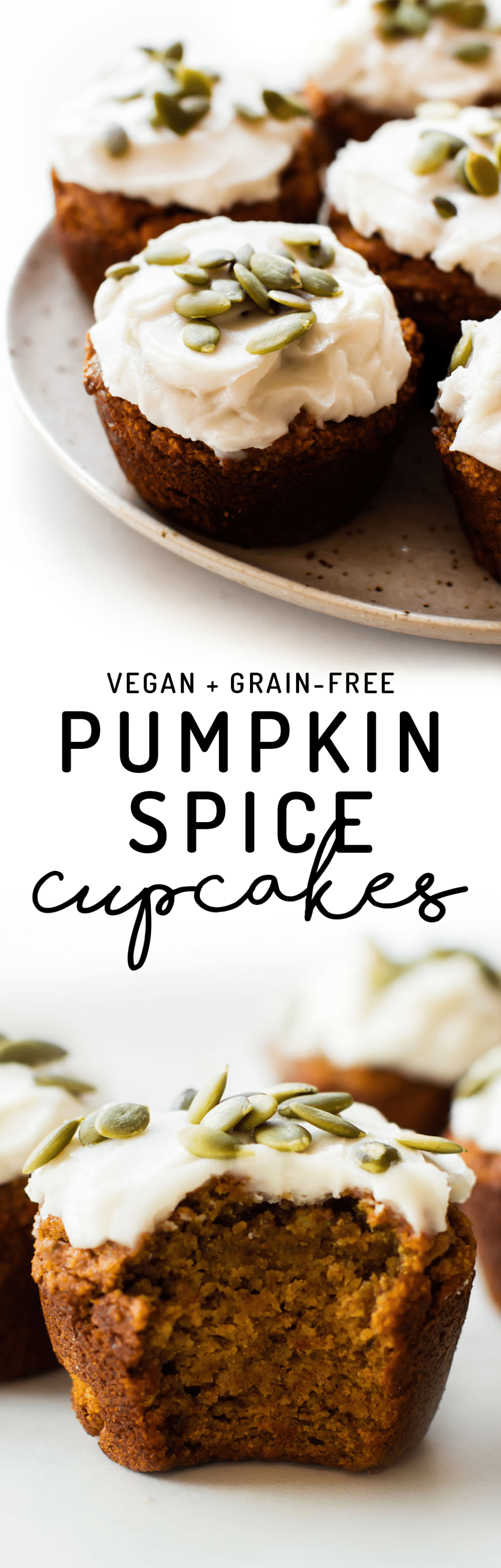 Cupcakes or muffins – either way this grain-free date-sweetened recipe is the perfect pumpkin spice snack or frosted treat! #vegan #paleo