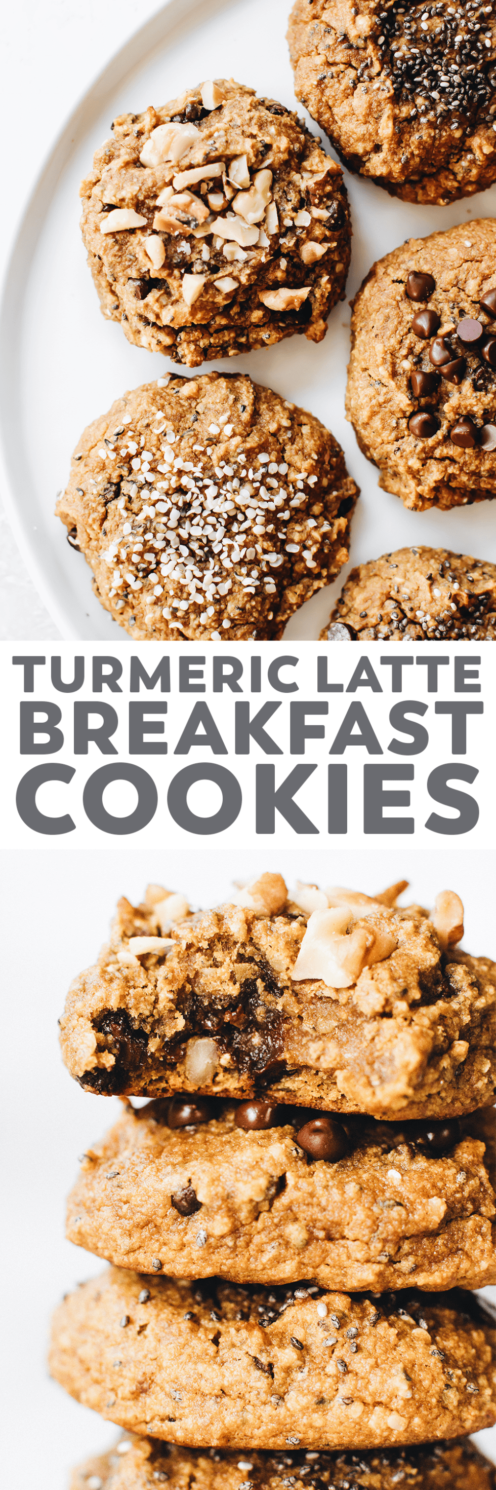 Soft, spiced turmeric cookies with a latte-inspired coffee kick! Easy to make. Customizable mix-in options. Snack, breakfast, or dessert. #vegan #recipe #glutenfree #paleo #grainfree #cookies #turmeric #healthy #snack #breakfast