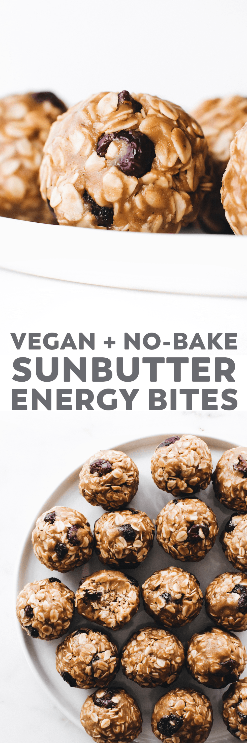 Chewy bite-sized balls made with SunButter, oats, dried fruit, and cinnamon. The perfect  prep-ahead snack that's vegan, gluten-free, and nut-free too! #vegan #glutenfree #snack #easyrecipe #healthyrecipe #nutfree