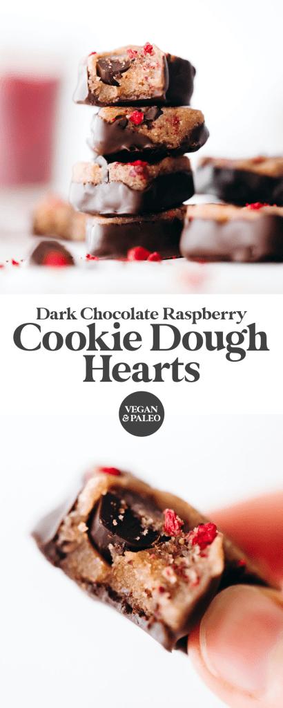 Dark Chocolate Raspberry Cookie Dough Hearts