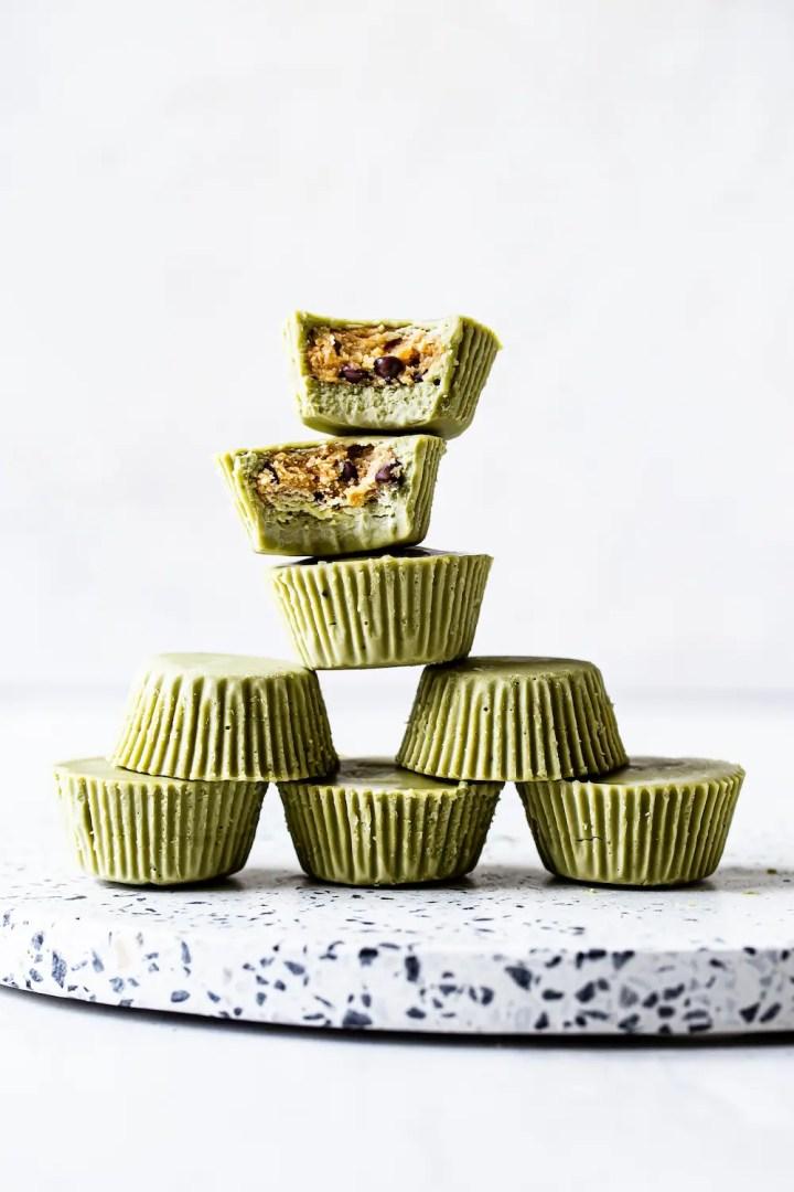 Matcha Cookie Dough Cups (vegan)