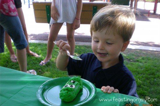 Corbin eating his Larry boy Cake