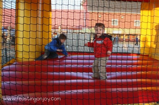 Cody and Corbin jumping in the jumpy jump