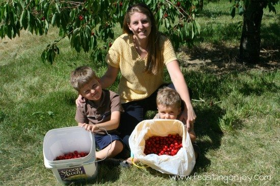 Me with the boys Cherry Picking