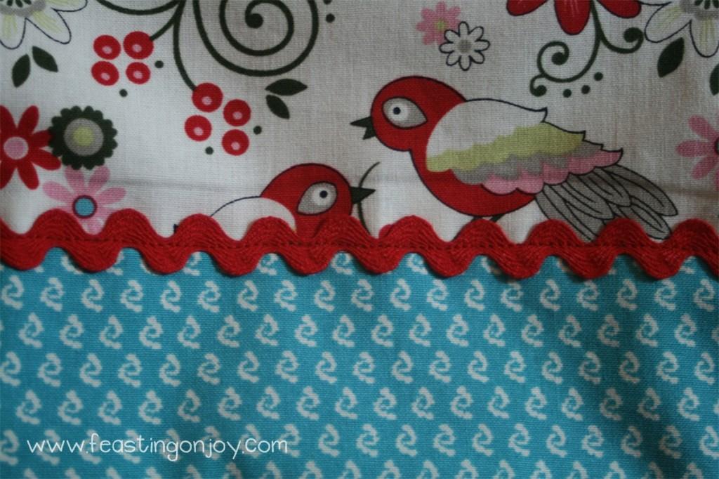 Close up of trim of Craft Room Curtains
