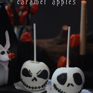 Jack Skellington Caramel Apples