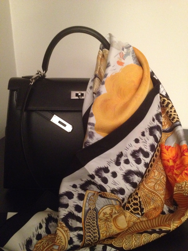 Hermes black Box Kelly and scarf
