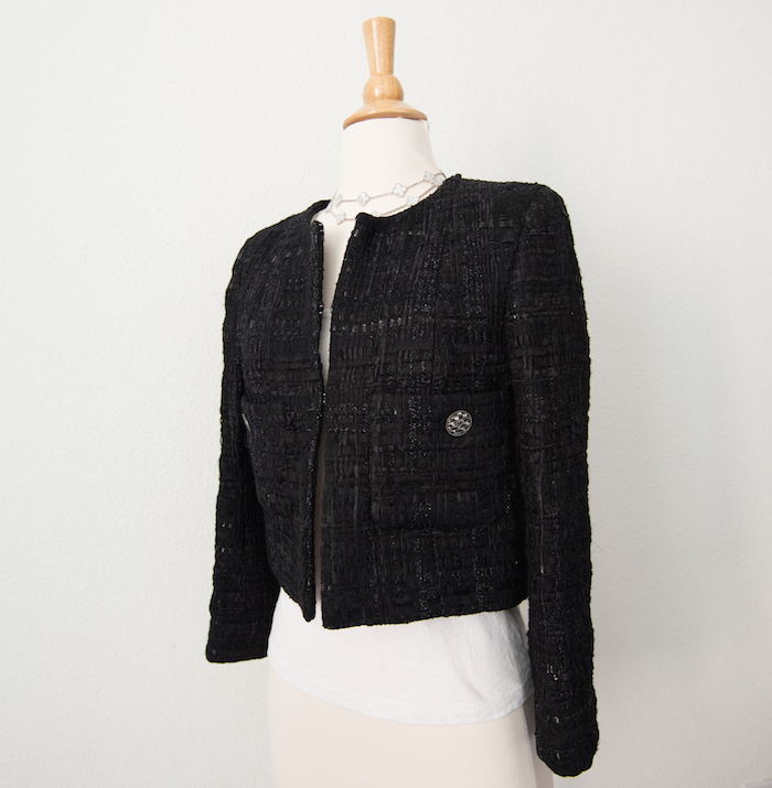 Chanel Black Tweed Jacket 15C Full