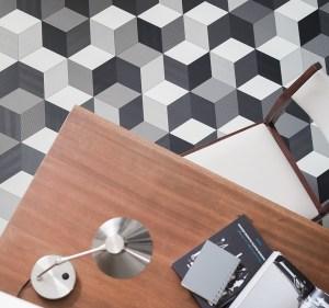 Cubes Black Sheet Vinyl Flooring