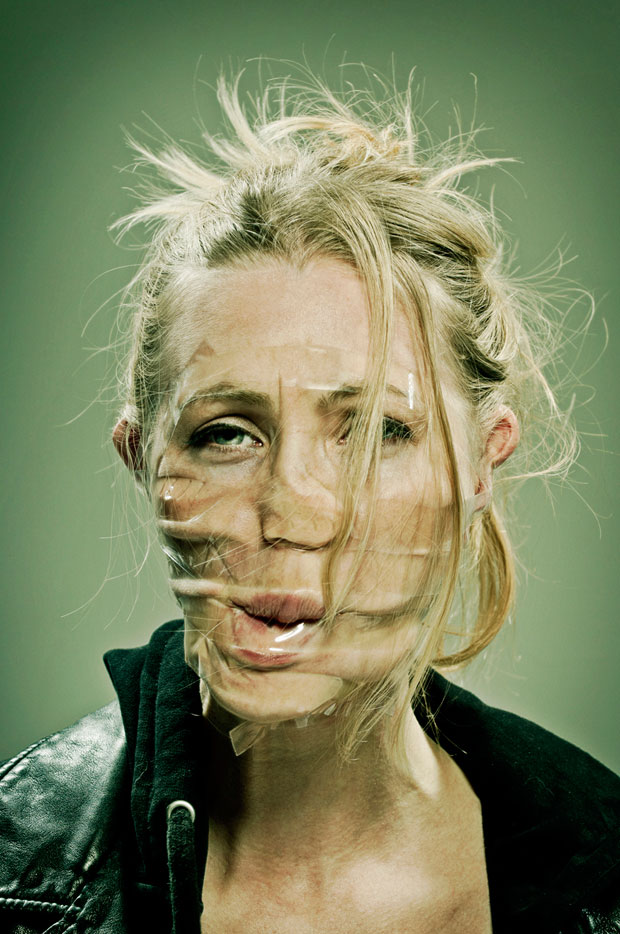 Hilarious Portraits Use Scotch Tape To Distort Faces