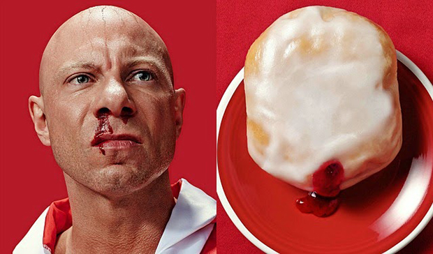 Donut Doubles Karate Fight Club Donut Shop Jelly Filled Pastry Breakfast Red Background Resemblance Lookalike