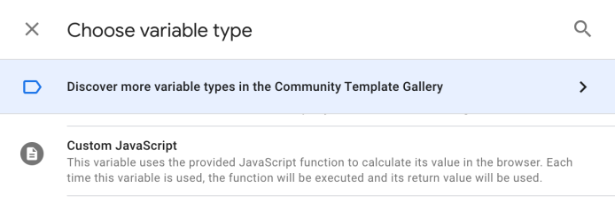 เราจำเป็นจะต้องสร้าง Variable มาเก็บข้อมูล โดยเลือกประเภทของ Variable แบบ Custom Javascript