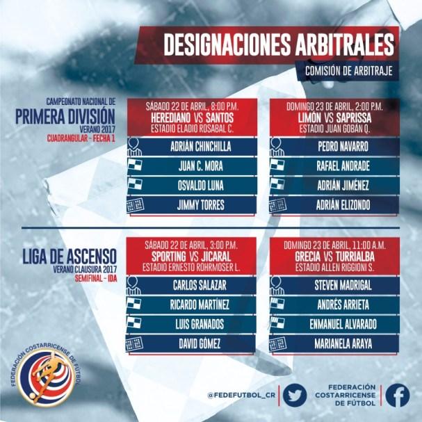 Árbitros primera cuadrangular final y liga de ascenso semifinales