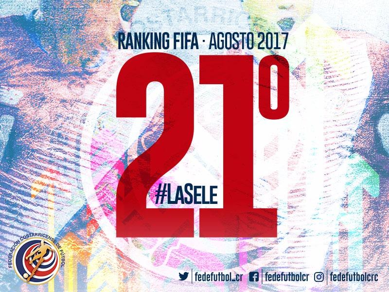 Costa Rica sube 5 puestos en el ranking FIFA