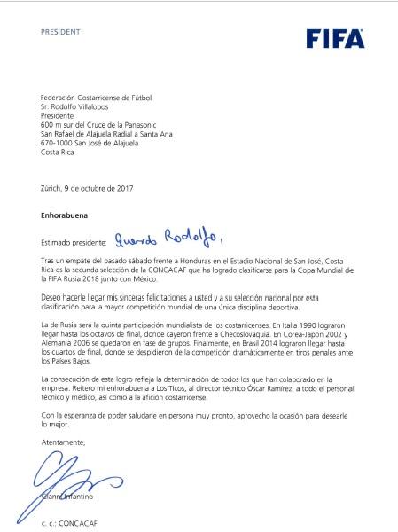 Carta del presidente de la FIFA