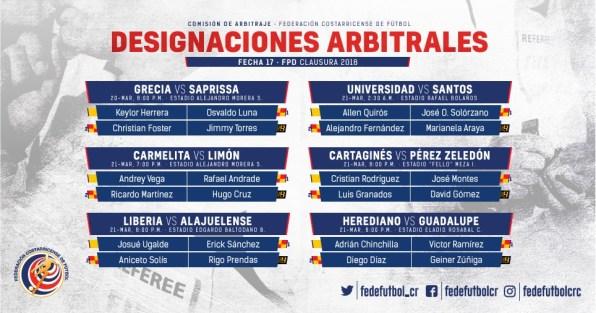 Designaciones arbitrales jornada 17 Primera División