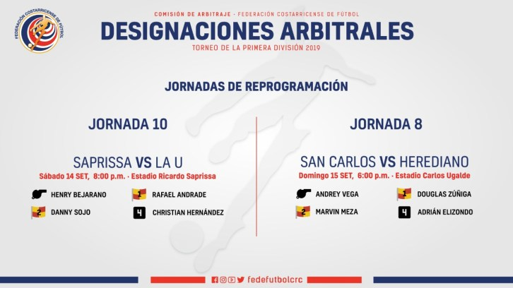 Designaciones reposición jornada 8 y 10 Primera División 2019