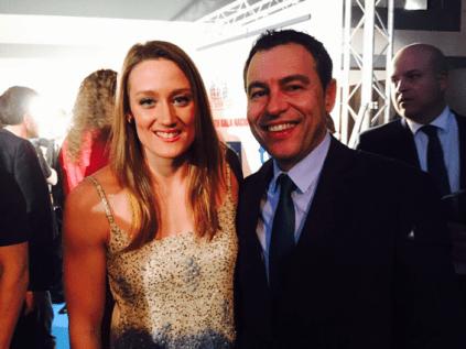La nadadora olímpica, Mireia Belmonte, y el presidente de la FCCV, Vicente Seguí.