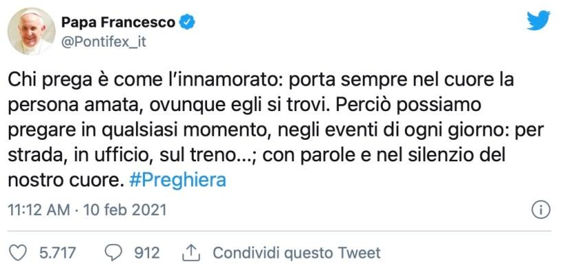 Papa Francesco tweet 10.02.2021