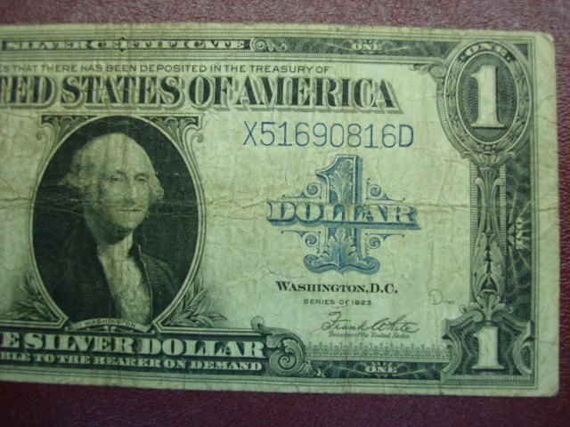 SERIES 1923 U.S. LARGE SIZE $1.00 SILVER CERTIFICATE- SPEELMAN/WHITE ...