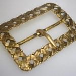 ANTIQUE ART NOUVEAU GOLD WASHED WOVEN BRASS SASH BUCKLE!