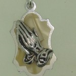 VINTAGE 1950-60'S WEST GERMANY SILVER & LUCITE MOP PRAYING HANDS CHARM! MINTY