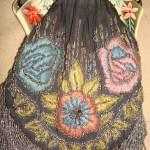 ANTIQUE ART NOUVEAU CARVED LUCITE HANDLE CUT STEEL BEADED SILK PURSE ESTATE FIND