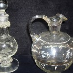 TWO ANTIQUE HAND BLOWN GLASS PITCHER & CRACKLE PERFUME W/STOPPER!