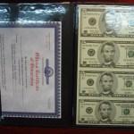 WORLD RESERVE MONETARY EXCHANGE 4 SUBJECT UNCUT SHEET SER. 2001 $5 FRN W/HOLDER
