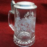 NATIONAL FOOTBALL LEAGUE ETCHED GLASS STEIN W/PEWTER LID – REALLY NICE!