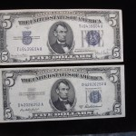 $5 – SILVER CERTIFICATES – 1934 & 1953 – ONLY 2 YRS. OF SMALL SIZE – EXTRA NICE