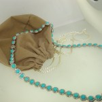 DIAMOND-CUT STERLING SLEEPING BEAUTY TURQUOISE TENNIS NECKLACE! NEW WITH TAGS!!