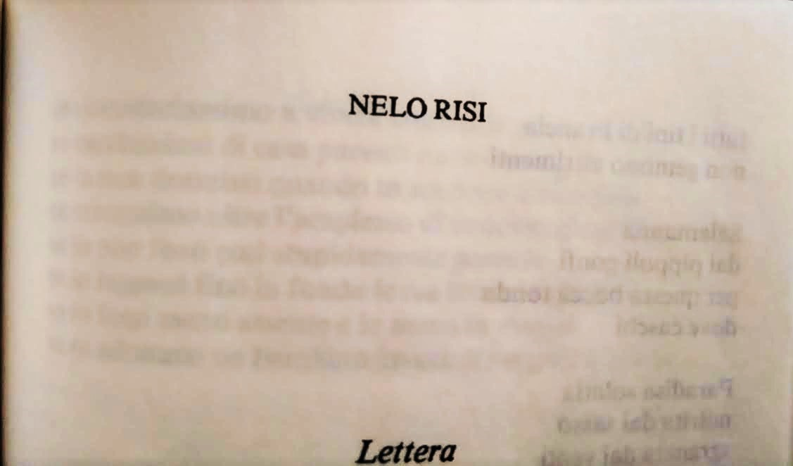 POEMS AND TEA – Nelo Risi, Lettera