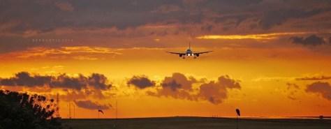 avión aterrizando con una puesta de sol impresinante