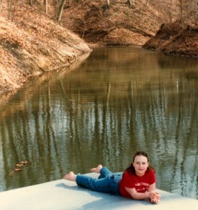 Clare at the pond 1987