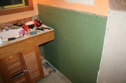 drywall by the vanity
