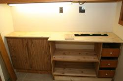 cabinet, shelves, and drawers fully assembled