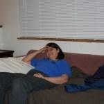 Ellen relaxes Sunday night after a hard weekend of work