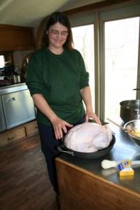 Ellen preparing the turkey