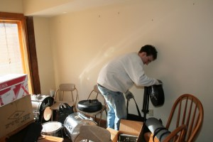 Bret works on packing some stuff