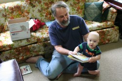 Dave and Spencer reading a book