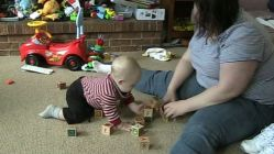 Clare and Spencer playing blocks