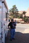 Dave and Spencer next to the RV