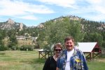Jackie and Grant with mountain view from the Elkhorn Lodge