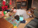 Sadie and Grandpa Felty playing cars
