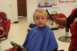 Spencer getting his hair cut