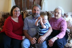 Clare, Dave, Spencer, and Great Grandma Dibble