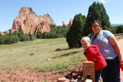 Clare and Spencer in the garden of the gods