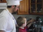 Spencer helping Rob with the mixer