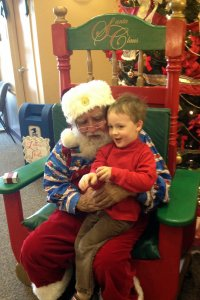 Spencer telling Santa what he wants for Christmas